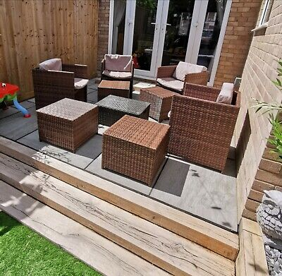 Rattan Garden Furniture Chair Patio Set With Coffee Table And Foot Stalls