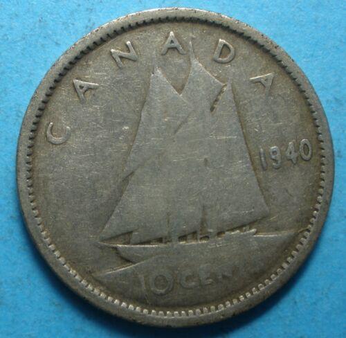 1940 Canada Dime silver