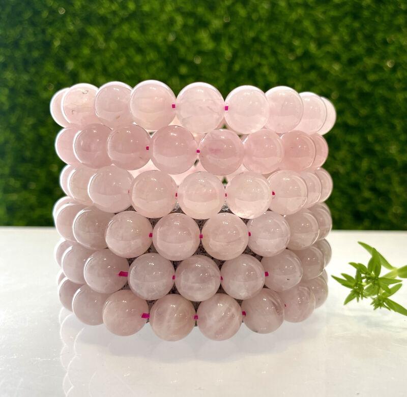 "Wholesale 6 Pcs Rose Quartz 10mm 7.5"" Crystal Natural Healing Stretch Bracelet"