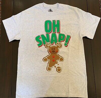 DISNEY PARKS 2019 CHRISTMAS OH SNAP MICKEY GINGERBREAD MAN ADULT T-SHIRT MED NWT ()