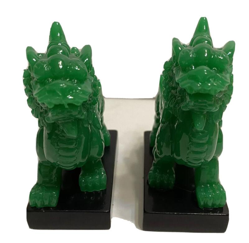Pair of Green Feng Shui Chi Lin QiLin Kei Loons Dragon Horse Heavenly Unicorn