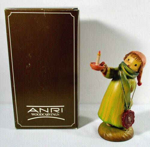 "ANRI Sarah Kay 6 1/2"" NIGHTIE NIGHT Boy with Candle Wood Carved Italy w/ Box"