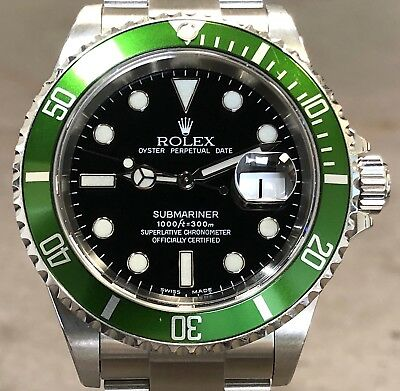 "ROLEX SUBMARINER 16610LV ANNIV ""FLAT 4"" GRN BZL W/RSC PAPERS -UNPOLISHED -Y SER"