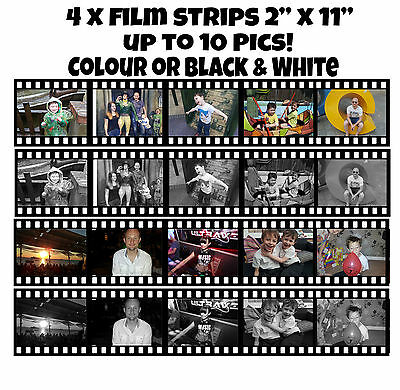 "An A4 Icing sheet of 4 x Film strips 11"" x 2"" up to 10 Photos / pics / images"