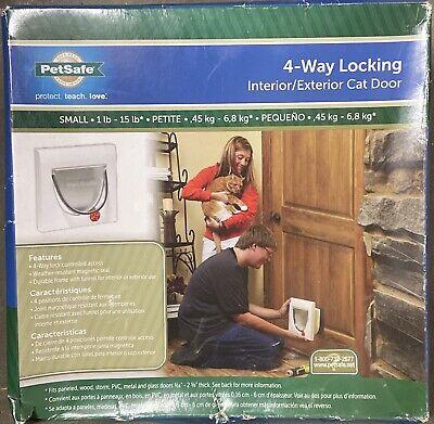 PetSafe Cat Door 4-Way Locking White Interior/Exterior small 1 lb-15 lb