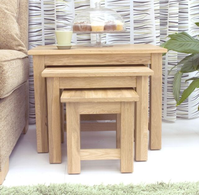 Solid OAK new furniture nest of three COFFEE TABLES