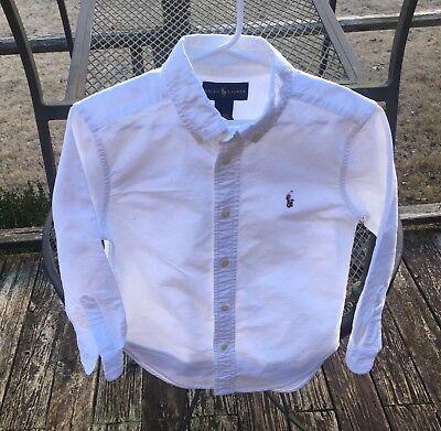 Ralph Lauren Boys 100% Cotton White Long Sleeve Dress Shirt, Size 6 - White Dress Shirt Boys