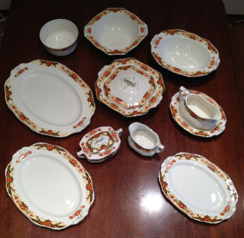 Vintage 10 Piece Serving Set of Alfred Meakin England Harmony Shape