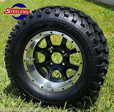 "GOLF CART 12"" GHOST ALUMINUM WHEELS/RIMS and 23""x10.5""-12"" AT TIRES (SET OF 4)"