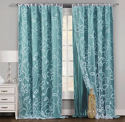 One (1) Teal & White Window Curtain Panel: Floral Design, Double Layered, 54x84