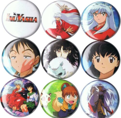 Inuyasha 9 pins buttons anime Kagome Shippo Miroku Kiyoko