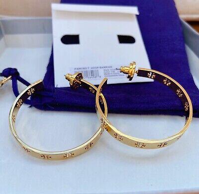 NWT Tory Burch Gold T Pieced Logo Hoop Earrings