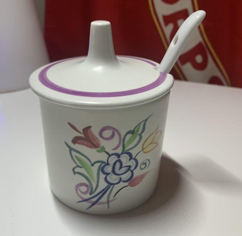 Poole Pottery Jam Pot Lid Floral Jelly Jar Honey Ceramic England Dolphin W/Spoon