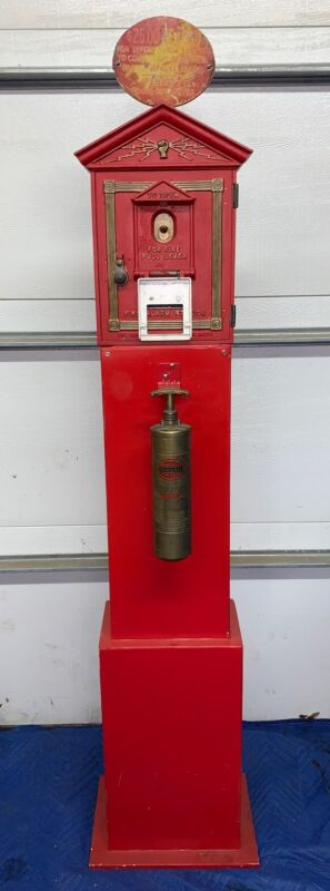 1924 Model Gamewell Fire Alarm Box on New Stand, Can Freight