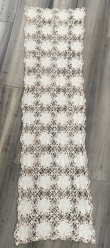 Antique Linen and Crochet Lace Table Runner