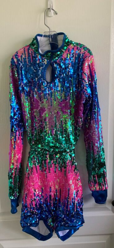 dance costume with purple, blue, green, and pink sequence plus scrunchie
