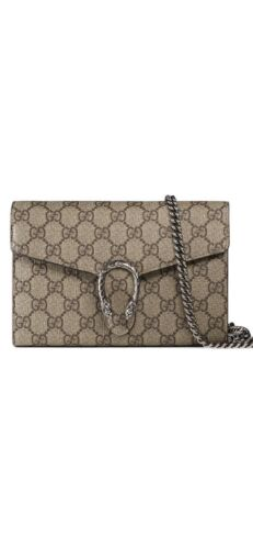 dionysus gg supreme chain wallet shoulder bag beige canvas silver chain