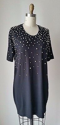Markus Lupfer Pearl Beaded Black Cotton Jersey Mini Dress Sz S ()