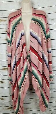 Polo Ralph Lauren Pink Aztec Print Sweater Cardigan Draped Cotton Silk S