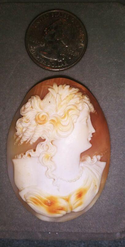 """Vintage Genuine Carved Natural Shell Cameo-2""""-MSRP 150.00"""
