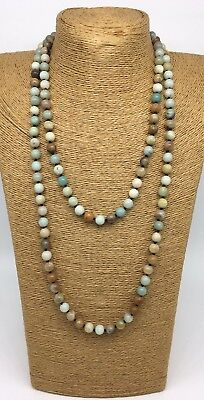 (Fashion semi precious stone long knot Amazonite Stones Necklace woman jewelry)
