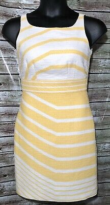 6   The Limited A-Line Dress Yellow/Ivory Cotton Lined Yellow Cotton Dress