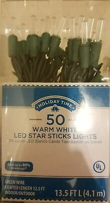 Licht-set Weiß Draht (Holiday Time LED Sticks Lichter Set Grün Draht Warmweiß, 50 Count Neu)
