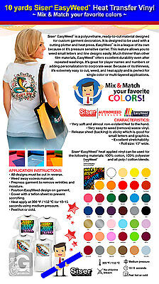 10 Yards Siser Easyweed Heat Transfer Vinyl Mix Match Your Favorite Colors