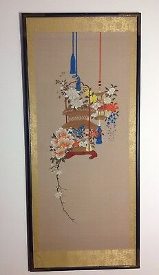 VINTAGE Hand Painted Hand Made Panel Painting Art From Kyoto Japan Flower Theme