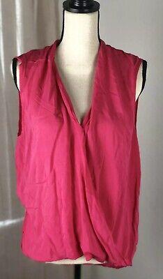 VELVET by GRAHAM SPENCER Hot Pink Sleeveless Blouse Size Medium Wrap ()