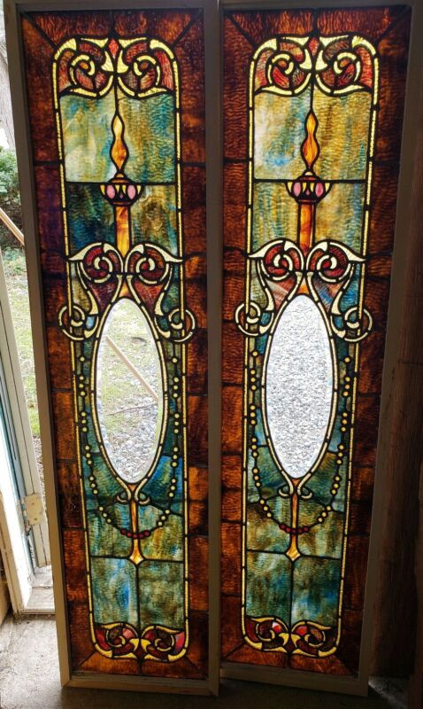 AWESOME PAIR OF ANTIQUE VICTORIAN STAINED GLASS SIDELIGHT WINDOWS 15 1/2 By 60