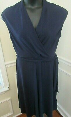 Women's H&M Navy Blue Faux Wrap Career Work Dress Size Large NWT