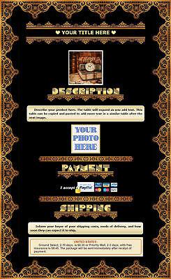 AUCTION TEMPLATE Vintage Orange Border Design Free Shipping - $2.49