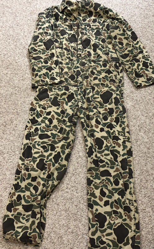 Vtg Black Sheep Coverall Duck Hunting Suit Mens Sz L Made USA Free Shipping
