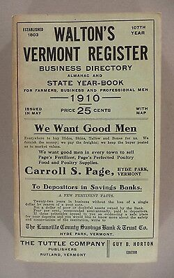 Waltons Vermont Register And Business Directory   1910    Nice Condition