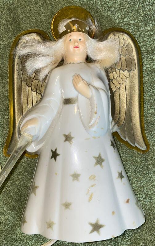 Vtg 1950's NOMA Christmas Angel Illuminated Tree Top Topper Light Halo