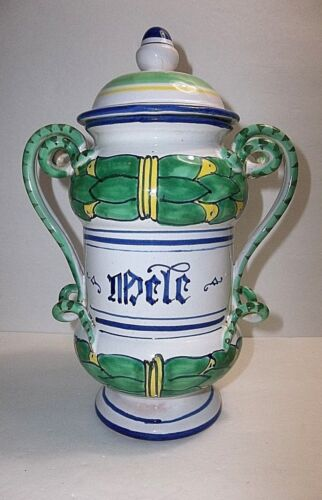 Vintage Italian Faience Majolica APOTHECARY Jar SERPENT Handles