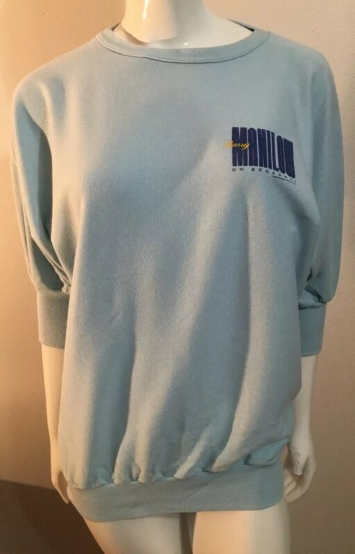 Rare VTG 80's Barry Manilow On Broadway T Shirt Sweatshirt 3/4 Sleeves Vintage