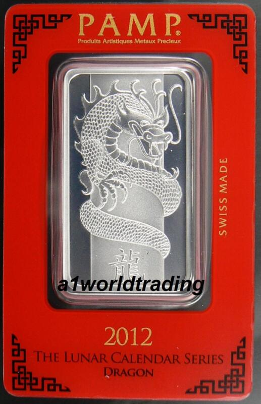 2012 Pamp Suisse 1 oz Sealed Silver Bar .999 Fine - YEAR OF THE DRAGON
