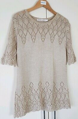 EWM Pure Classics Women's Knit Top Size Small Gold Sparkle Jumper Evening