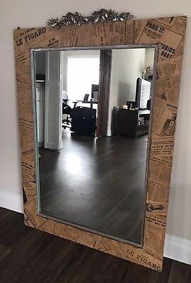 Antique European Newspaper and Pewter Wall Mirror ()