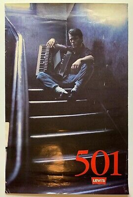 VTG 1987 Levis Strauss 501 NYC Accordion Player Stairway Poster 34 x 22