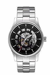 Caravelle Men's 43A124 Automatic Skeleton Black Dial Stainless Steel Watch