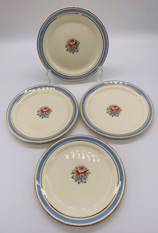 "Set 4 VTG 1940s Taylor Smith Taylor 10"" Dinner Plates Blue Ring Gold Trim Floral"