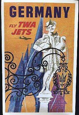 FLY TWA JETS - GERMANY BY DAVID KLEIN ORIGINAL VINTAGE TRAVEL POSTER 1959