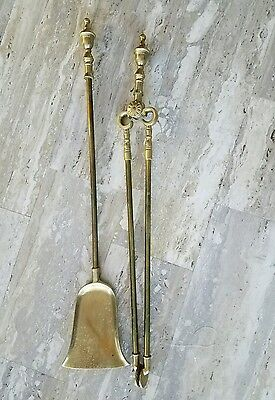 SET Brass & Iron Fireplace Hearth Tongs and Shovel Mantle Tools
