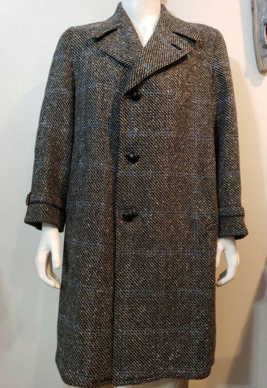 Vintage Hickey Freeman Mens Flight Coat 48R Wool Windowpane Plaid Overcoat 60s
