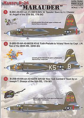 Print Scale Decals 1/72 MARTIN B-26 MARAUDER American WWII Medium Bomber for sale  USA