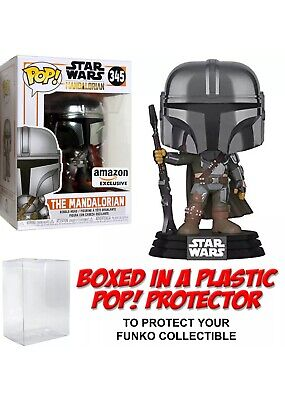 Funko POP! Star Wars ~ THE MANDALORIAN (CHROME EXCLUSIVE #345) w/Protector Case