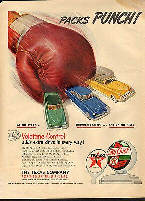 Vintage 1951 TEXACO SKY CHIEF GASOLINE - Large Magazine Print Ad - Automobile